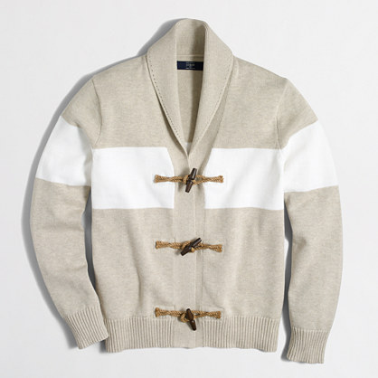 Striped toggle cotton cardigan sweater