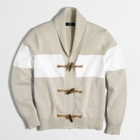 Striped toggle cotton cardigan sweater
