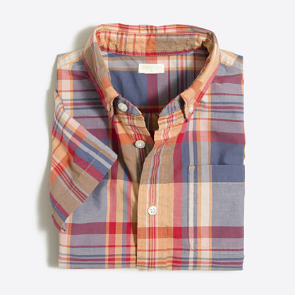 Boys' short-sleeve gingham washed shirt