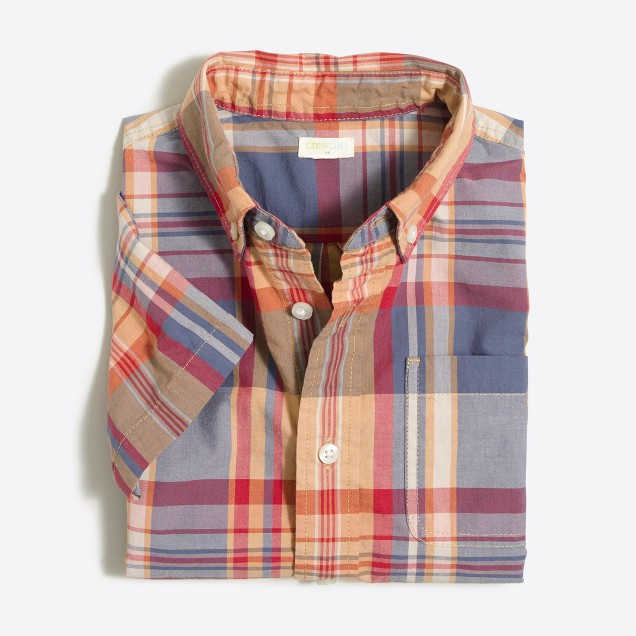 Boys' short-sleeve madras shirt