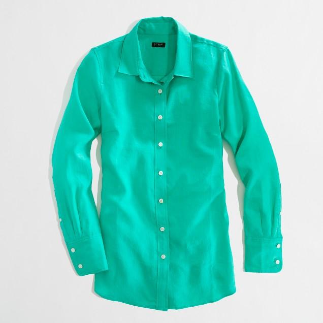 Factory classic button-down shirt in linen
