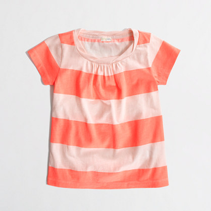 Factory girls' pleated tee in stripe