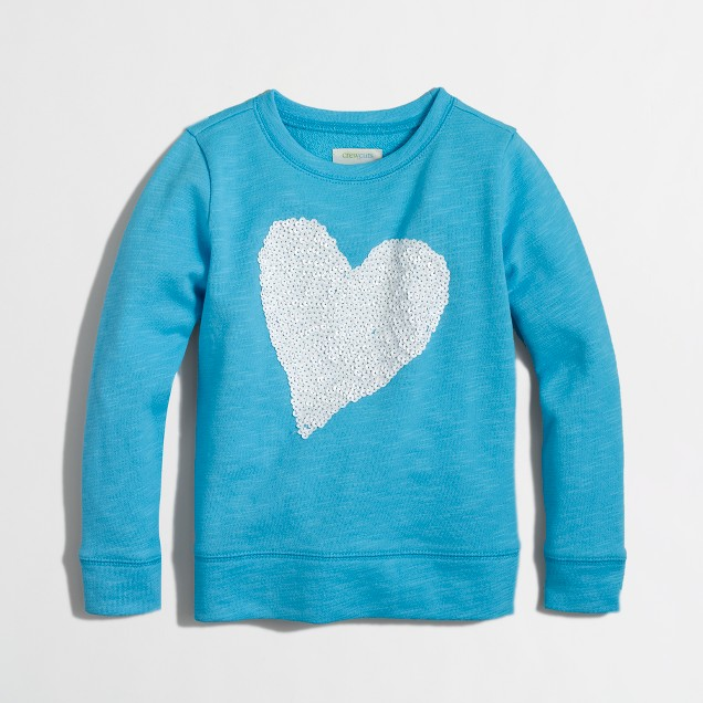 Factory girls' sequin heart sweatshirt
