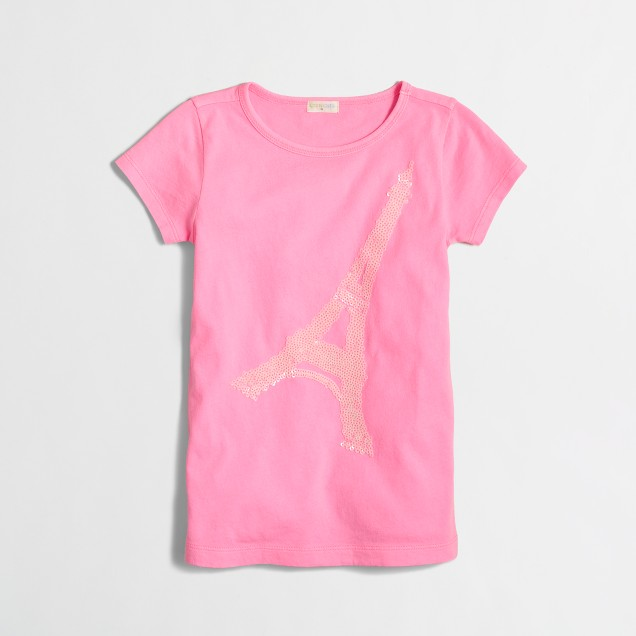 Factory girls' sequin eiffel tower keepsake tee
