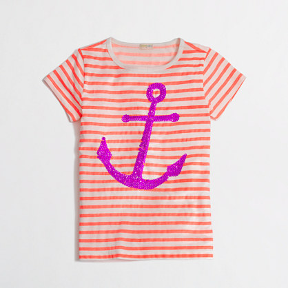 Factory girls' stripe sequin anchor keepsake tee in peach