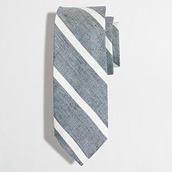 Factory linen-cotton wide-striped tie