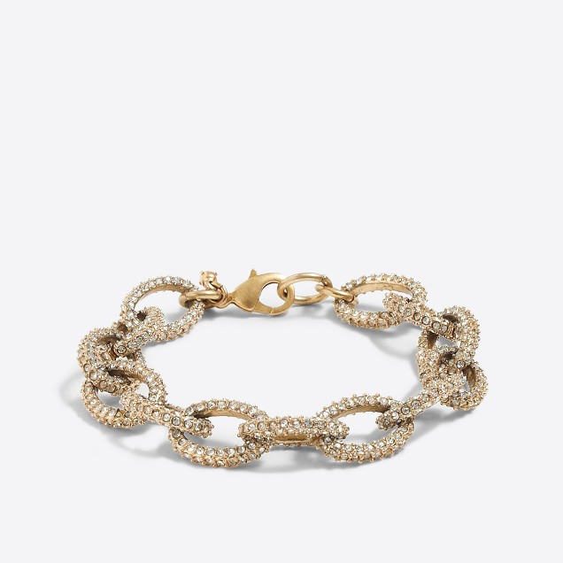 Gold and crystal link bracelet