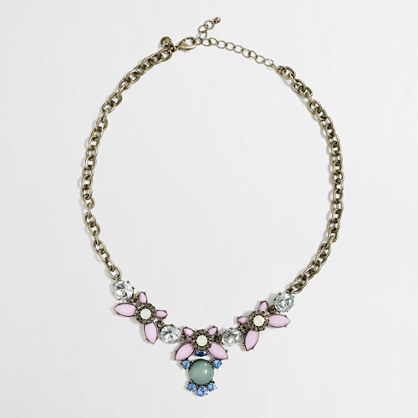 Factory oval stone and crystal drop necklace