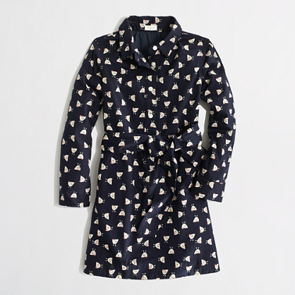 Factory girls' printed shirtdress