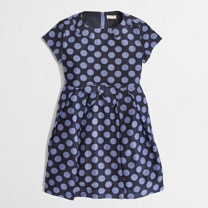 Factory girls' pleated polka-dot dress