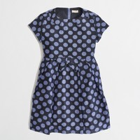 Factory girls' pleated polka-dot dress