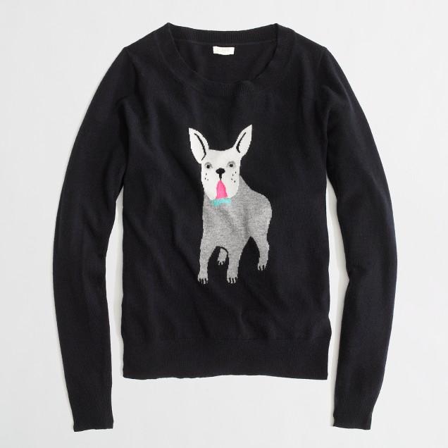 Factory warmspun intarsia bulldog sweater