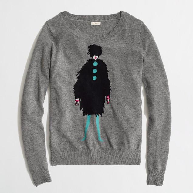 Factory warmspun intarsia French lady sweater