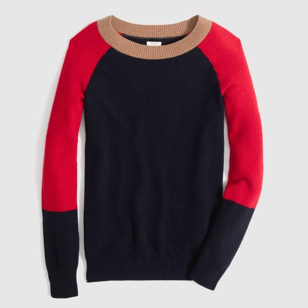Factory warmspun waffle colorblock sweater