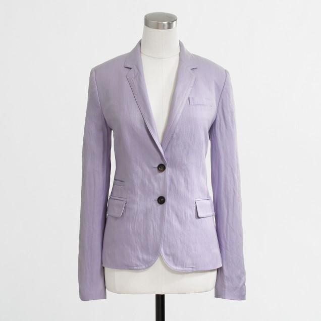 Factory tailored boy blazer in purple linen