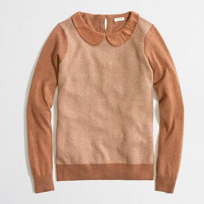 Factory warmspun herringbone Peter Pan collar sweater