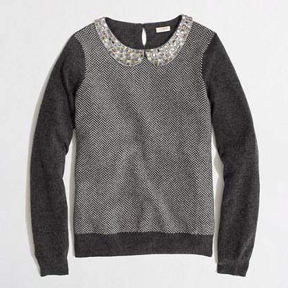 Factory warmspun herringbone jewel-collar sweater