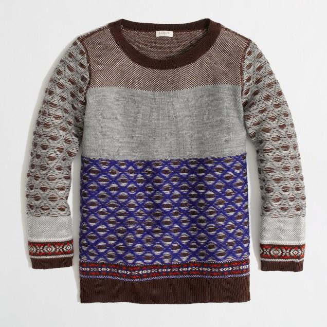 Factory warmspun colorblock Fair Isle sweater