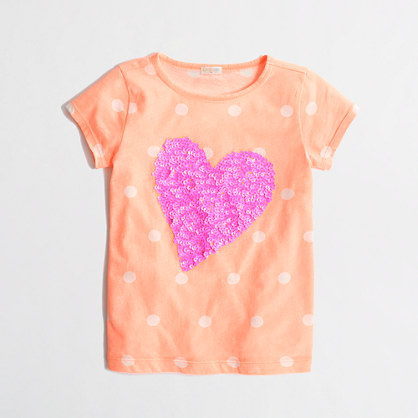Factory girls' dotted sequin heart keepsake tee