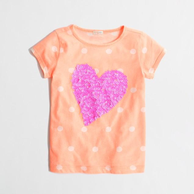 Factory girls' dotted sequin heart keepsake tee