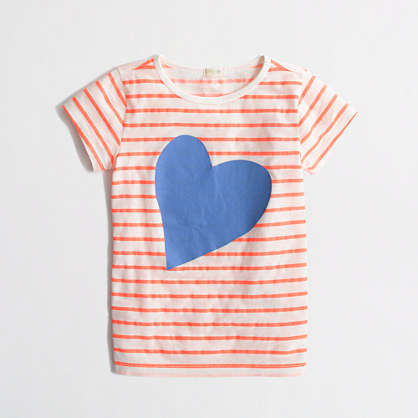 Factory girls' neon stripe and heart keepsake tee
