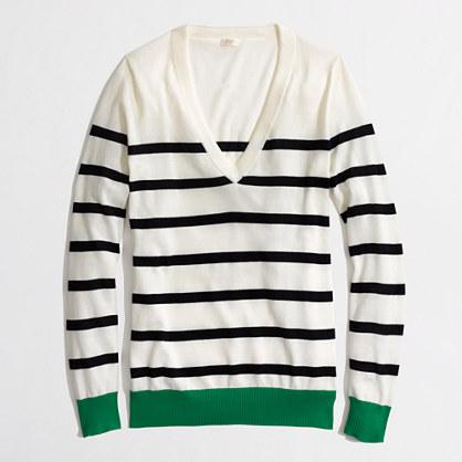 Factory v-neck sweater in colorblock stripe