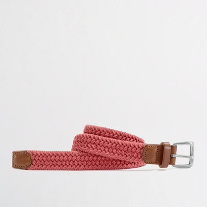 Factory leather-trim cotton braided belt