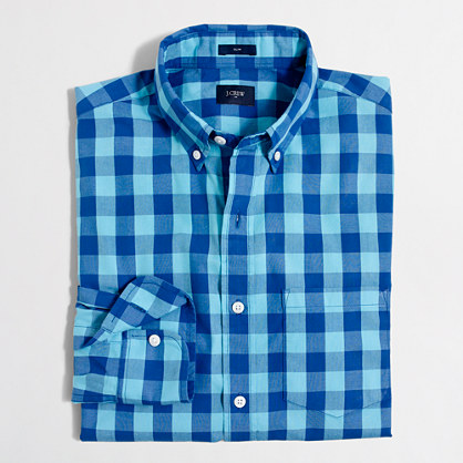 Slim washed shirt in double gingham