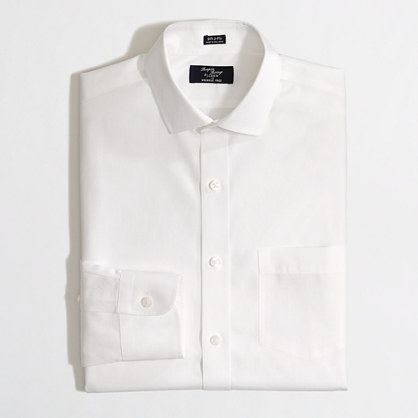 Factory Thompson wrinkle-free spread-collar dress shirt in white ...