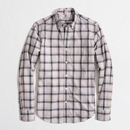 Factory slim heathered plaid shirt