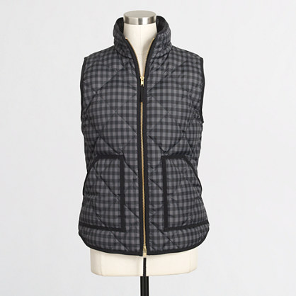 Factory Printed Quilted Puffer Vest Vests J Crew Factory