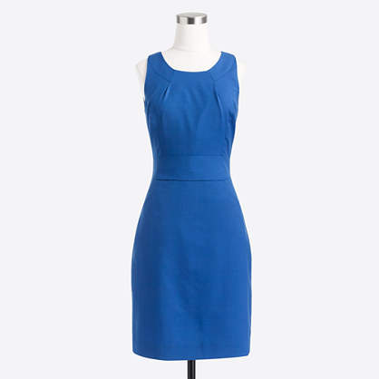 Petite tailored shift dress in lightweight wool
