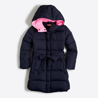 Girls' long belted puffer coat : Coats & Jackets | J.Crew Factory