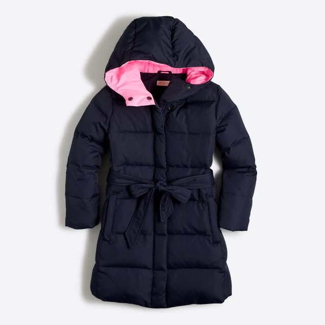 Girls' long belted puffer coat