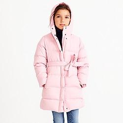 Girls' long belted puffer coat