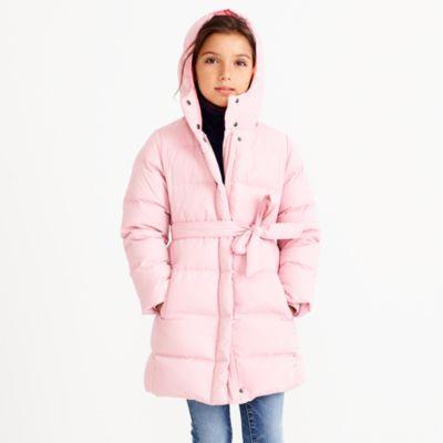 Girls' long belted puffer coat   sale