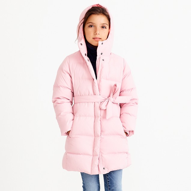 Girls' long belted puffer coat : FactoryGirls BEST (BUNDLE-UP ...