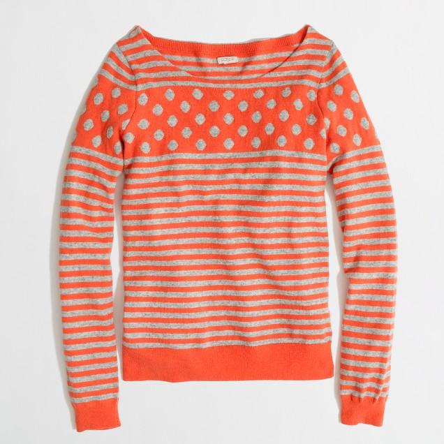 Factory warmspun intarsia stripe-dot sweater in tangerine