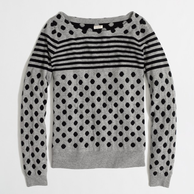 Factory warmspun intarsia stripe-dot sweater in navy