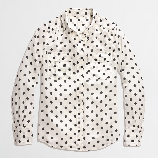 Factory printed silk two-pocket blouse