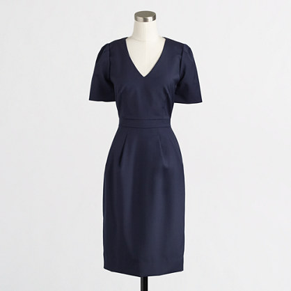 Factory pleated shift dress in lightweight wool
