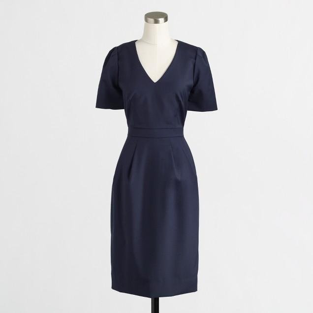 Factory pleated shift dress in lightweight wool