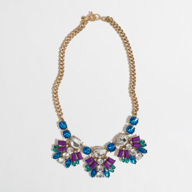 Factory neon crystal fan necklace