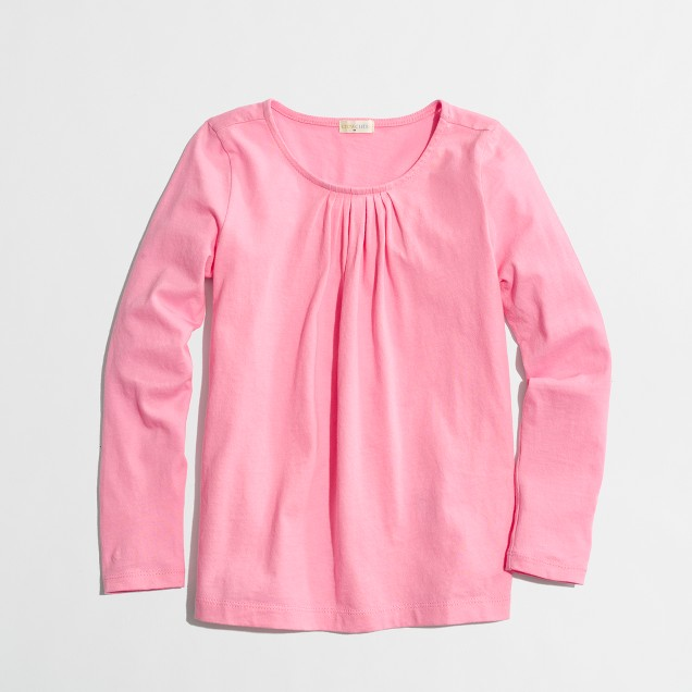 Factory girls' long-sleeve pleated tee