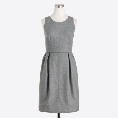 Pleated shift dress in wool flannel