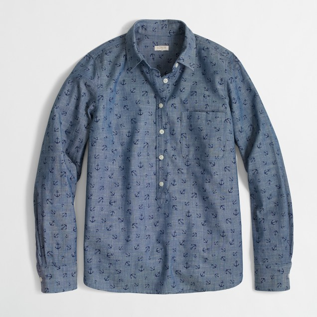 Factory printed chambray popover