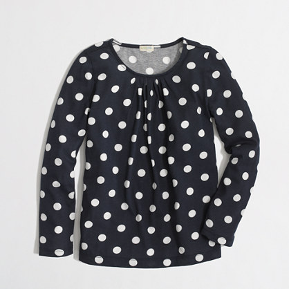 Factory girls' long-sleeve pleated tee in polka dot
