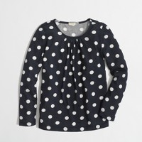 Factory girls' long-sleeve pleated tee in polka dot