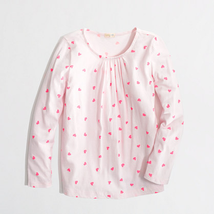 Factory girls' long-sleeve pleated tee in hearts