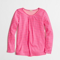 Factory girls' long-sleeve pleated tee in thin stripe
